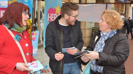 Supporters gather at the Ely Heroes market stall
