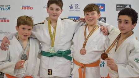 Group photo of medalists from left to right - Jayden Ansell from Blue Coat School in Stamford, Willi