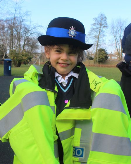 Pupils at King's Ely Acremont were taught a lesson in safety by two of Ely's PCSOs. PHOTO: King's El