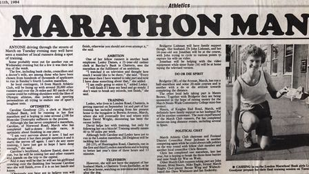 Clipping from the Cambs Times in the 80s - Lesley Wright from March is gearing up to take on the Lon