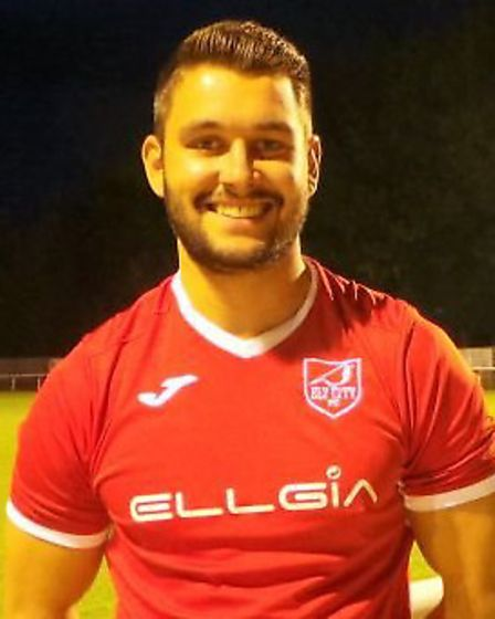 Ollie Brookes scored Ely City's goal in their defeat at Brantham. Picture: ELY CITY FC