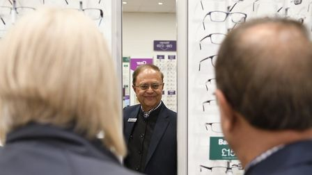 Subhash Suthar, of the International Glaucoma Association, visits the Ely branch of Vision Express
