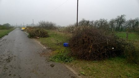Theses images, posted on social media, show the fly tipping abandoned on Cock Pen Road yesterday. Pi