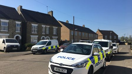 The scene in Creek Road, March, where a man was found dead this morning. Photo: Clare Butler