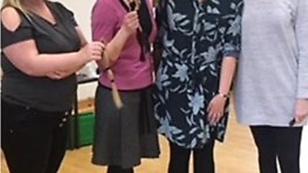 Pam Hudson (second from right) and Becky White (left) of the Wilburton Church of England Primary Sch