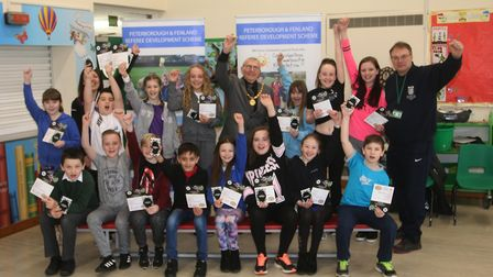 Coates Primary children are congratulated by the Mayor of Whittlesey. Picture: RWT Photography