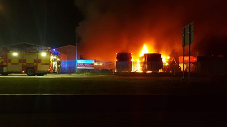 Early photos of the fire that broke out tonight at Glazewing, Hostmoor Avenue, March. PHOTO: Stuart