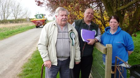 Erbie Murat, (centre) with Patrick O'Dell, canvassing the support of Wendy Bunting in Gorefield. Mr