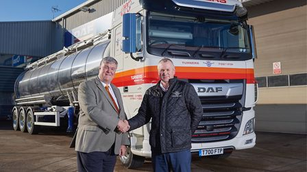 DAF Truck handover featuring Tim King, Group Fleet Engineer at Turners (Soham) (left) and Paul Frank