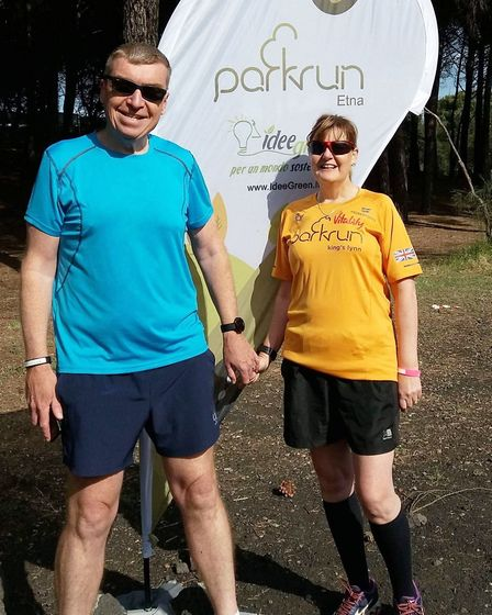 Tony and Sarah Lamb (pictured) were both racing their first 10-mile event - The Three Counties Runni