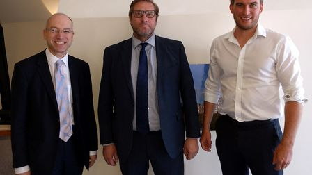 James Palmer with, left, Jonathan Denby, head of corporate affairs, Abellio Greater Anglia, and, rig