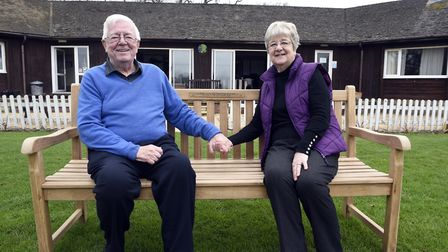 Bench presentation for golden wedding couple Clive and Janet Frusher.