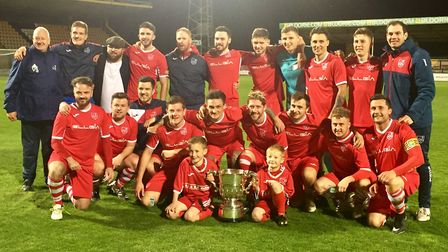 Ely City celebrate their Cambs Invitation Cup victory. Picture: ELLEE SEYMOUR