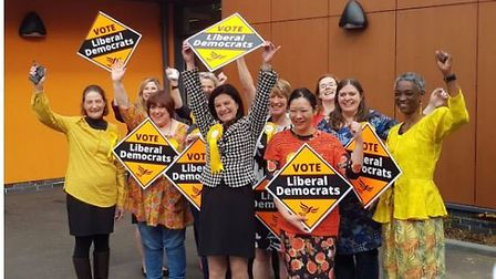Lib Dems in South Cambridgeshire celebrate their succes. PHOTO; South Cambs Libs