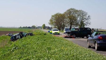 A47 3 car RTC Closes road for several hours. Reported 9 people injured including children, A47, Thor
