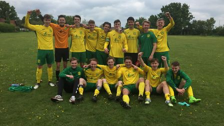 Dunmow Rhodes celebrate winning the Braintree & North Essex League Division Two title