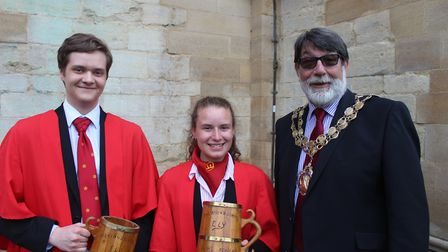Mayor of Ely, Cllr Richard Hobbs with the winners - Crowds gathered outside a sun-kissed cathedral a