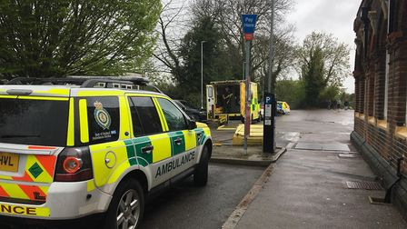 Amublance crews outside March rail station where a man has been hit by a train. PHOTO: Harry Rutter.