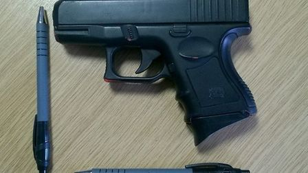 The imitation handgun used in the crime. Photo: Cambs Police