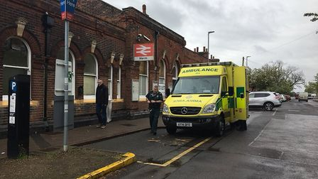 March rail station is closed. Ambulance and police are arriving at the scene now. PHOTO: Clare Butle