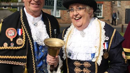 Ely's town crier Avril Hayter-Smith and husband Graham