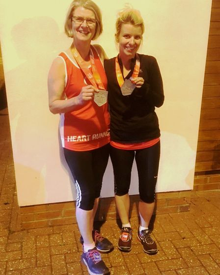 Lesley (left) and Rachel Wright (right) - mother and daughter ran the marathon together.