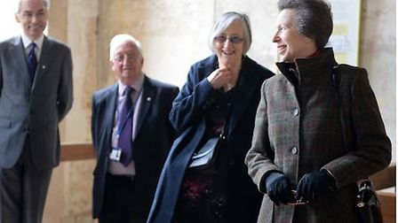 HRH Princess Anne in Denny Abbey with Jane Willamson and others.