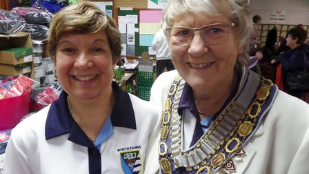 Jackie Wilkes left and North Cambs EWBF President Betty Reeve.