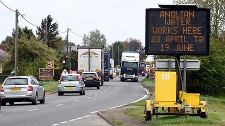 Traffic congestion on the A141 at March as Anglia Water replaces the old cast iron water main.
