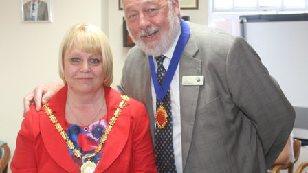 New mayor of Whittlesey Councillor Julie Windle with Councillor Dave Mason. PHOTO: RWT Photography