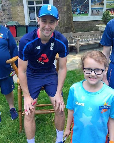 Gracie with Chris Woakes