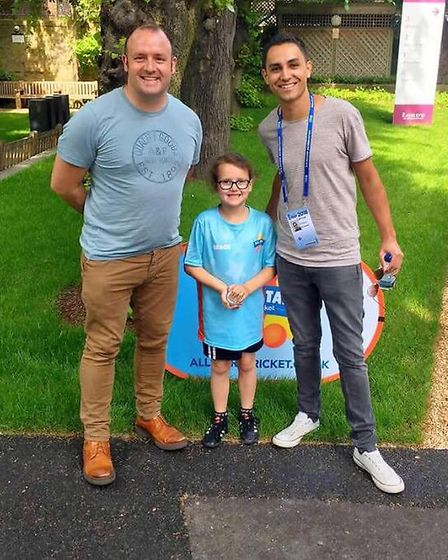 Gracie with her father Andy and CBeebies presenter Ben Cajee