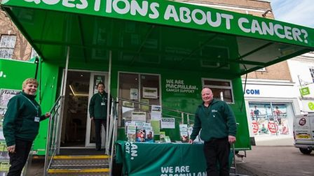 Macmillan cancer support bus will visit March and Cambridge in June.