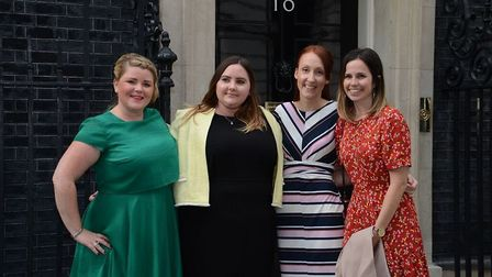 Ely teacher Rachel Clarke, second from right, outside 10 Downing Street in London. She is pictured w