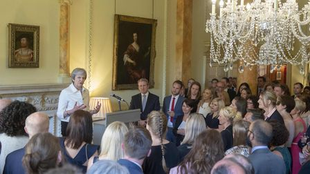 Prime Minister Theresa May addressing teachers inside Downing Street