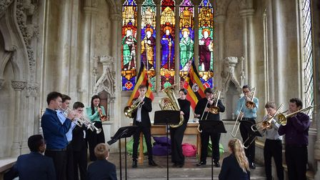 The Guildhall School of Music and Drama's 10-piece brass ensemble, The Grainger Brass Ensemble, perf