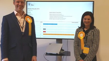 Councillors Aidan Van de Weyer and Bridget Smith, pictured at the elections earlier this month, are