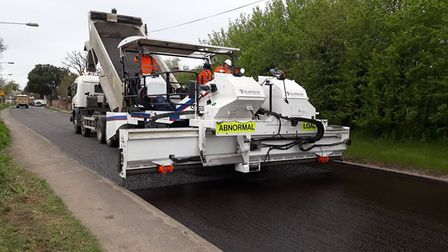 The new 'Etnyre' machine touring the county and resurfacing Cambridgeshire roads.It is the only one