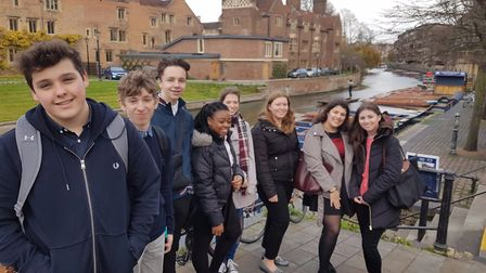 Students from Helena Romanes secondary school in Great Dunmow visiting Magdalene College to find out