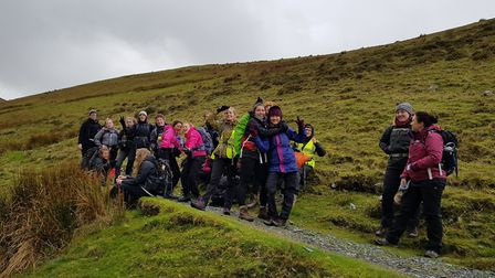 Students from Helena Romanes secondary school in Great Dunmow on a World Challenge hike.