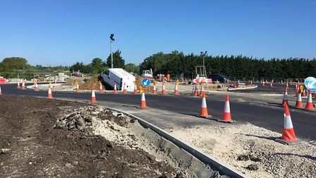 'The Ely bypass is already causing problems' tweeted Ewan Logan after taking this photo of a van mo
