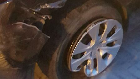 A driver has been left with injuries to his arm after flipping his car in a car crash on Wimblington
