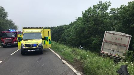 The scene of today's crash on the A141 at Wimblington. PHOTO: BCH Policing