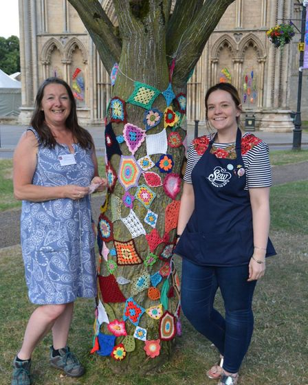 Sew much fun! A Flower Festival Fringe event - Sew Much to Do have yarn bombed a tree and the cannon