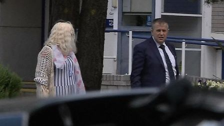 Ruth Neave (pictured left) seen leaving Cambridgeshire Constabulary HQ in Huntingdon this morning (J
