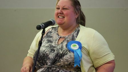 Sarah Bligh as she celebrated being elected to represent Parson Drove and Wisbech St Mary.
