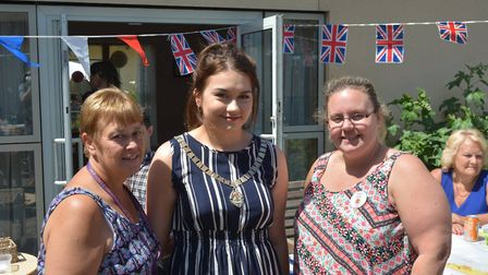 Mayoress of Ely, Cassie Rouse, with rehabilitation co-ordinator Lisa Thompson and the Tesco Ely comm