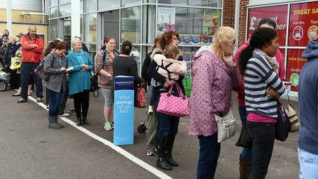 Customers flock to the opening of Poundworld Plus in Wisbech.