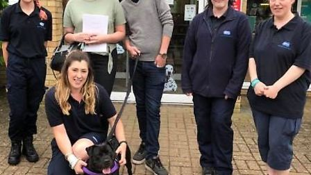 Cambridgeshire couple Georgina Arnold and Owen Gray collected Kali the staffie on Saturday June 2. T
