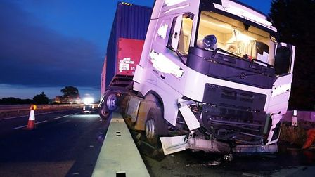 Chaos on the A14 today after this lorry hit a barrier. The road was later closed in one direction an
